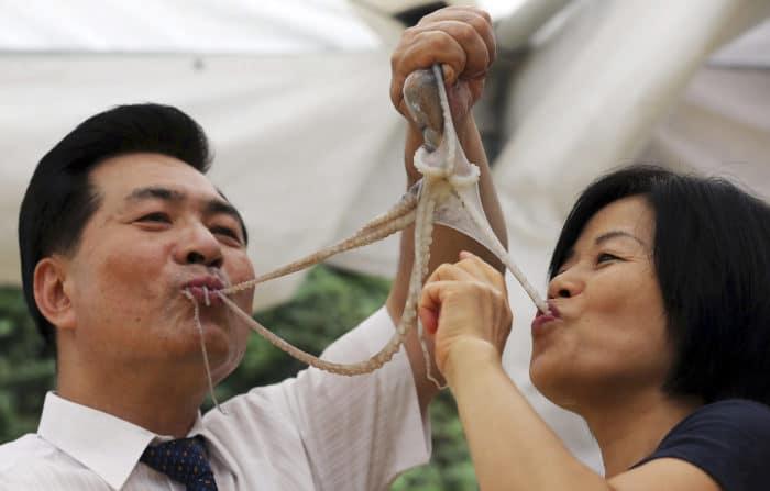 люди едят живого осьминога