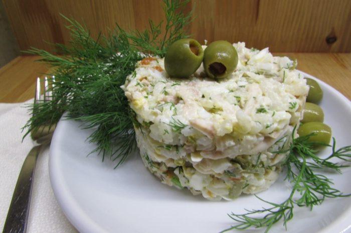 салат из трески послойный