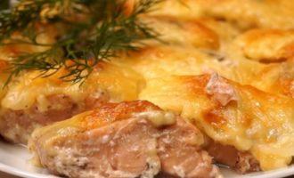 блюдо из трески под сыром