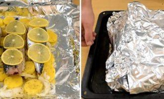 рыба запеченная с лимоном