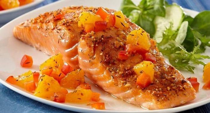 семга запеченая с медом и овощами