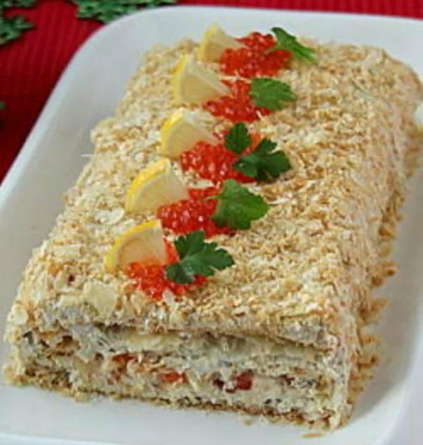 соленый торт с печенью трески