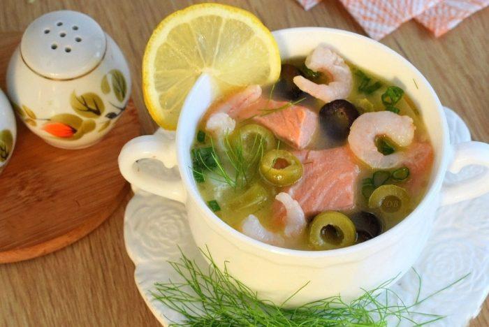 суп из семги и оливок