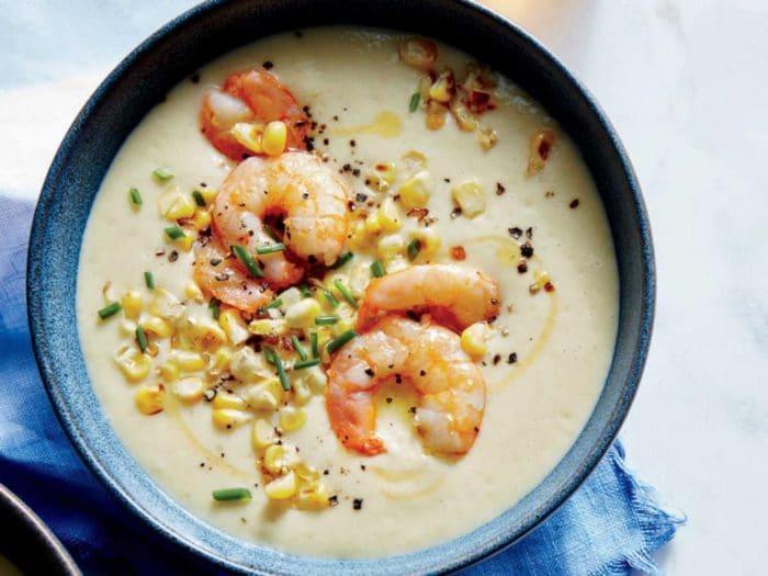 суп с креветками и зернами кукурузы