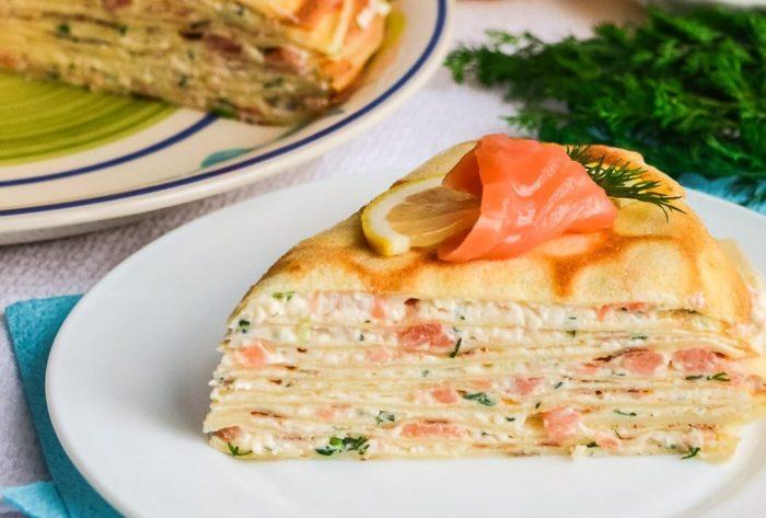 Сырный торт с рыбой