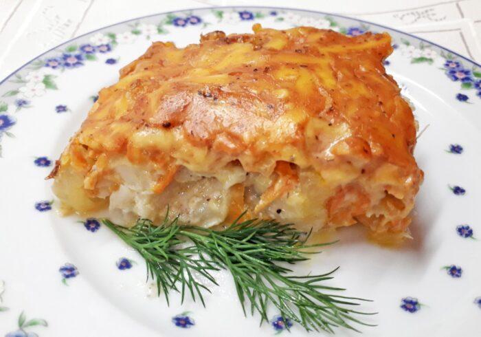 Запеченная под сырным соусом