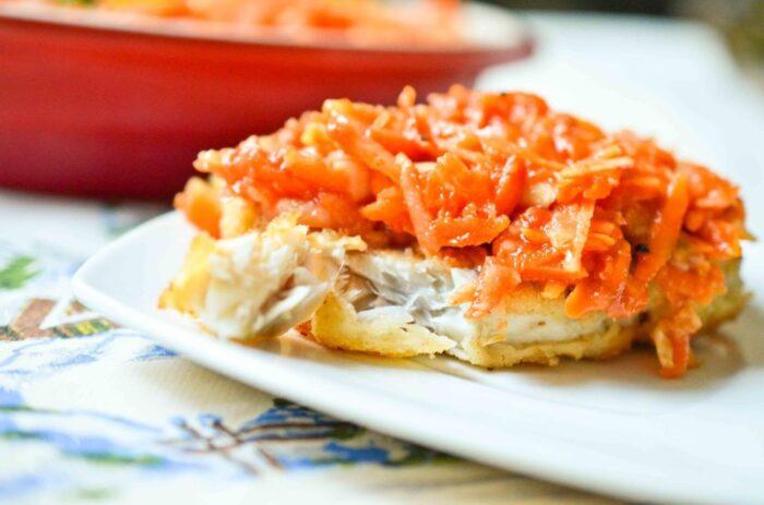 Рецепт тилапии, запеченной с морковью