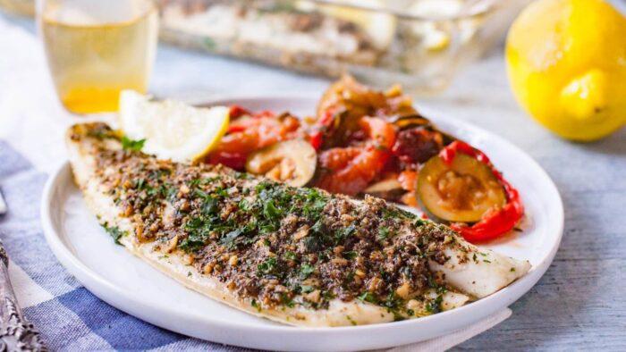рыба со специями и шпинатом